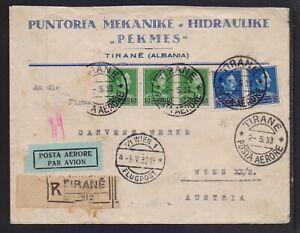 ALBANIA 1933 REGISTERED (TIRANE) AIR MAILED COVER TO AUSTRIA