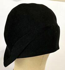 True Vintage 1920's Black Felt Cloche Hat