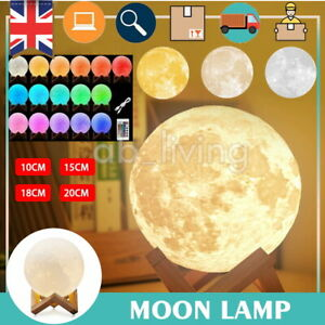 3D Moon Lamp LED Night Light Dimmable Color Change Rechargeable Kids Bedroom
