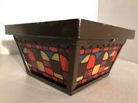 """Vintage Exterior 9"""" Light Fixture 70's Stained Glass Dual Bulb Door Lamp Square"""