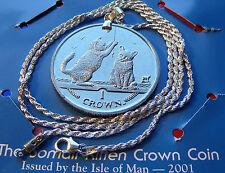 "Playful Somali Kitten Crown Pendant on a 20"" Italian .925 Sterling Rope Chain."