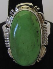 Native American Navajo Sterling Gaspeite Ring Size 8 Signed Jimmie Frank