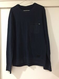 Abercrombie And Fitch Mens Navy Blue Crew Neck Jumper Size L EUC