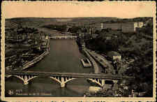 HUY Belgien 1948 Panorama Fluss Brücken Carte Postale alte Postkarte frankiert