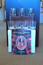 Scottish Highland Fling assorted Tartans: Seven High Ball Glasses w/Tartan Book