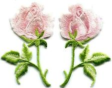Light pink roses pair flowers embroidered appliques iron-on patches S-1257