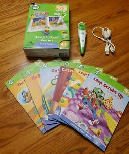 LOADED LeapFrog Lot TAG Reading System Green Pen & Learn To Read 6 Book Set 1