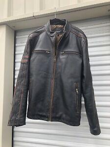 Black Rivet Genuine Leather Motorcycle Jacket - Cafe Racer - Mens Size Large