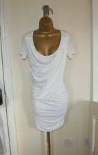 BNWT Roccobarocco Sexy Fitted White Unusual Dress Sz IT 42 UK 10