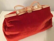 Ted Baker NEW Red Velvet Rose Gold Bow Oversized CENA Clutch Hand Bag