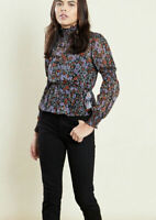 Violet Romance Top Blouse Size 8 & 12 Black High Neck Shirred Peplum Floral GK53