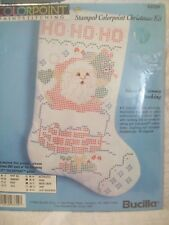 Christmas Stocking Kit Bucilla Colorpoint #63729 Paintstitching Stamped NOS