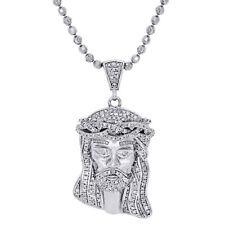 "925 Sterling Silver Mens Diamond Mini Jesus Face Pendant Charm & Chain Set 1.40"""