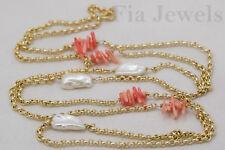 COLLANA ottone corallo rosa perle naturali NEKLACE brass pearls pink coral