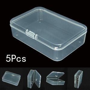 5x Small Transparent Plastic Storage Box Home Office Multipurpose Display Case