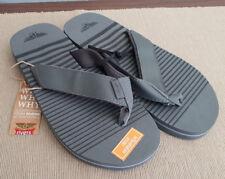 BNWT Mens Size 12 Grey Black Stripe Thongs Flip Flop Sandals Beach Casual Shoes