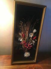 Joli Cadre rectangulaire bouquet fleurs séchées hauteur 42 cm vintage