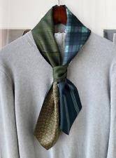 100% Silk Mulberry twill Scarf men neckerchief Wrap tie plaid blue green MN8-2
