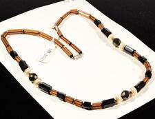 "Vintage 25"" Czech necklace black topaz pentagon faux pearl metallic glass beads"