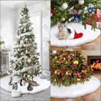 Luxury Christmas Tree Skirt Faux Fur Home Xmas Floor Decor Ornament Party White