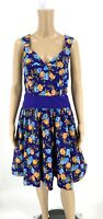 Plenty Tracy Reese Anthropologie Dress Size 12 Blue Floral Aline Fit Flare E12