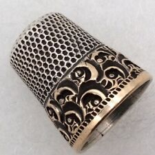 STERLING SILVER & 14K YELLOW GOLD VICTORIAN THIMBLE