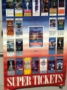 """NEW Super Bowl SUPER TICKETS  XXIll Poster Vintage 1989 24""""X36"""" WHAT A FIND !!!!"""