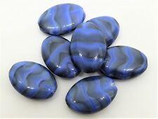 16(mm) BLACK/BLUE MARBLE OBLONG CUSHION CZECH GLASS BEADS - D087 - (10pcs)