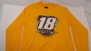 NASCAR Kyle Busch #18 M&Ms Yellow Long Sleeve Shirt Joe Gibbs Racing JGR NASCAR