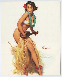 Vintage 1960s Gil Elvgren Brown & Bigelow Hawaiian Pin Up Print Hula Girl Aloha