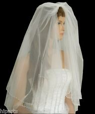 "Ivory Bridal Wedding Veil 2-Tier Elbow Length 25""x30"" Silver Beaded Edge"