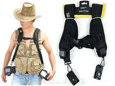 Black Photography Double Shoulder Belt Camera Strap for 2 Canon Nikon DSLR SLR