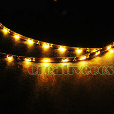 "2x 30CM 12"" 335 SMD Side-emitting 12V Car Flexible LED Strip Light Amber Yellow"