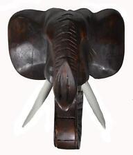ELEPHANT HEAD AFRICAN MASK JUNGLE SAFARI WOOD SCULPTURE HOME WALL AFRICAN ART