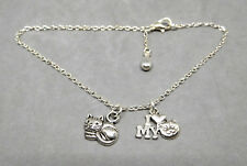 ANKLET, 'I LOVE MY CAT', WITH KITTY CAT CHARM & SILVER PLATED CHAIN - 01971