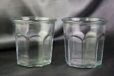 2 Flat Working Glass Tumblers Panel Design Clear Anchor Hocking USA 13 oz