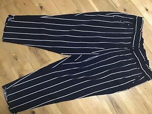 "Zara Trafaluc Ladies Black Stripe Casual Trousers Size 18, L25"""