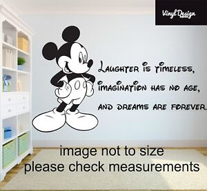 Disney mickey mouse Laughter is timeless quote vinyl wall art sticker