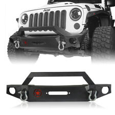 Matte Black Mid Front Bumper w/ Winch Plate For Jeep Wrangler JK 2007-2018