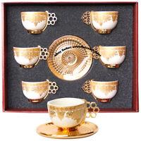 Turkish Arabic Coffee Cups, Italian Espresso Cups Saucer Porcelain Set 12Pcs
