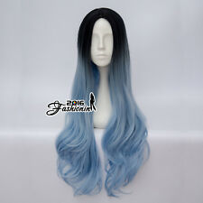 80CM Lolita Women Ombre Black Mixed Light Blue Wavy Cosplay Wig Heat Resistant