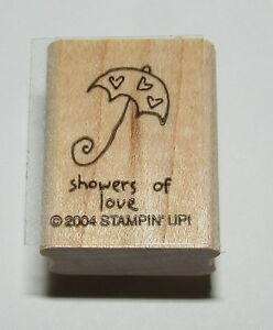 Showers of Love Rubber Stamp Stampin' Up New Mini Wood Mounted Umbrella Hearts