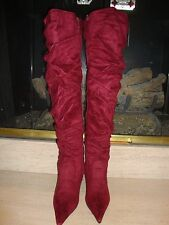 SEXY NEW THIGH HIGH FAUX SUEDE OTK BOOTS BY MISS ME IN GORGEOUS CRANBERRY