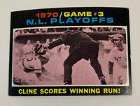 1971 NL Playoffs Game 3 Cline Scores Winning Run # 201 Topps Baseball Card