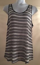 LANE BRYANT Sz 18/20 Blk Wht Metallic Blouse w/ Chiffon Tulip Style Back Panel