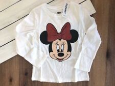 NWT Old Navy Girl's Minnie Mouse Long Sleeve Red Bow T Shirt - White - 3T
