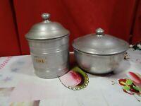 lot= collection boites anciennes fer blanc =thé et sucrier