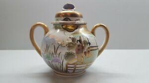 Vintage Japanese Hand Painted Egg Shell Porcelain Sugar Bowl