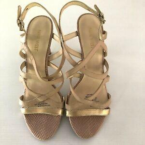 Nine West Women's Shoes Intern Nude Burnished Gold Animal Print size 7M