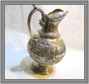 "ANTIQUE English Sterling c1876 - 6"" FLORAL REPOUSSE SILVER SYRUP PITCHER NR"